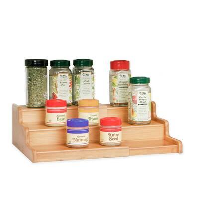 Bamboo Expandable 3-Tier Spice Rack Step Shelf Cabinet Organizer