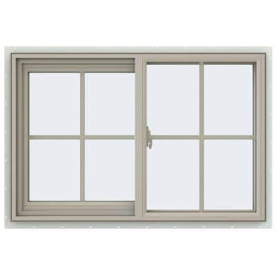 35.5 in. x 23.5 in. V-2500 Series Desert Sand Vinyl Left-Handed Sliding Window with Colonial Grids/Grilles