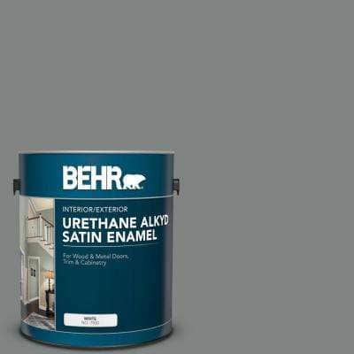 Behr 1 Gal 6795 Slate Gray Urethane Alkyd Satin Enamel Interior Exterior Paint 793001 The Home Depot