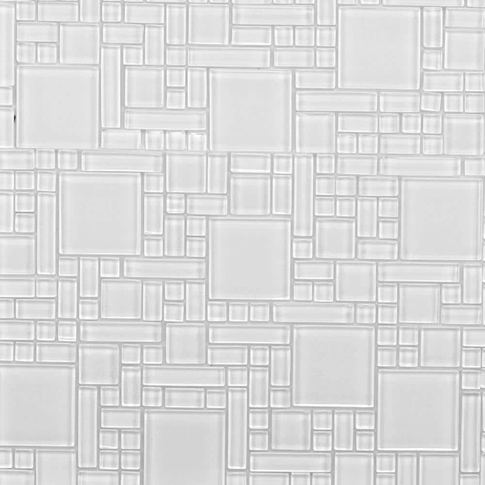 Mosaic Art Tiles 20 count Electric White 34 inch Mosaic Glass Gems