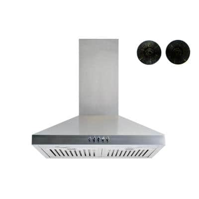 30 in. Convertible Wall Mount Range Hood in Stainless Steel with Baffle and Charcoal Filters