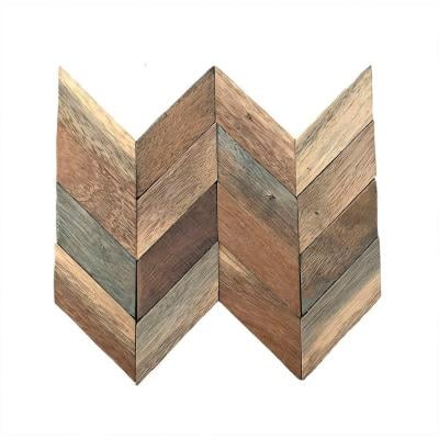 11-7/8 in. x 11-7/8 in. x 3/8 in. Chevron Boat Wood Mosaic Wall Tile Natural (11-Pack)