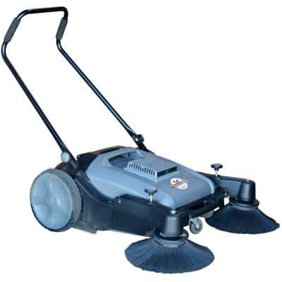 Commercial 38 in. Walk Behind Push Sweeper with Triple Power Brooms Floor Cleaning of Dust Litter Grass