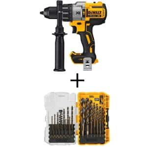 20-Volt MAX XR Cordless Brushless 3-Speed 1/2 in. Hammer Drill (Tool-Only) with Black and Gold Drill Bit Set (21-Piece)