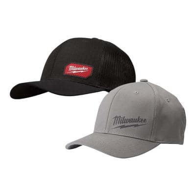 GRIDIRON Black Adjustable Fit Trucker Hat with Small/Medium Gray Fitted Hat (2-Pack)