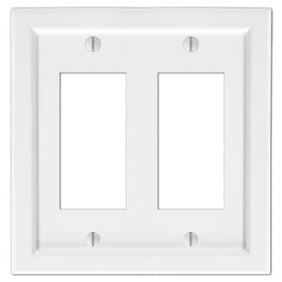 Woodmore 2 Gang Rocker Wood Wall Plate - White