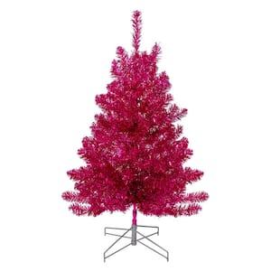 3 ft. Unlit Metallic Pink Tinsel Artificial Christmas Tree
