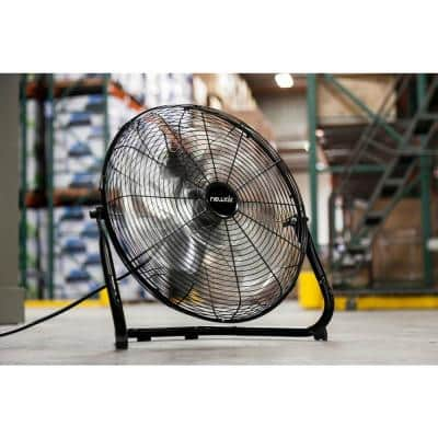 18 in. High Velocity Portable Floor Fan with 3 Fan Speeds and Long-Lasting Ball Bearing Motor - Black