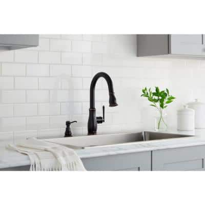 Kagan Single-Handle Pull-Down Sprayer Kitchen Faucet with Soap Dispenser in Bronze