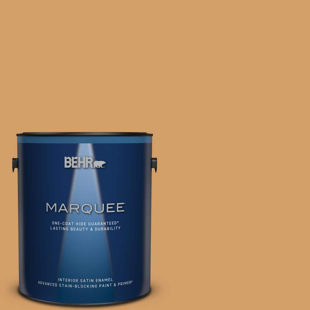 Behr Marquee 1 Gal Mq4 08 Golden Aura One Coat Hide Satin Enamel Interior Paint Primer 745401 The Home Depot