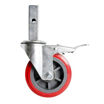 6 in. Scaffold Caster Wheel in Galvanized Steel, Heavy Duty, with Double Locking Pin for Buildman 6 ft. Baker Scaffold