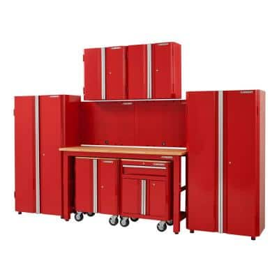 8-Piece Ready-to-Assemble Steel Garage Storage System in Red (145 in. W x 98 in. H x 24 in. D )