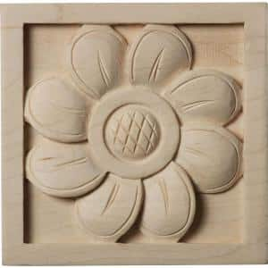 5/8 in. x 3 in. x 3 in. Unfinished Wood Cherry Small Sunflower Rosette