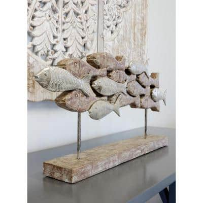 Native School Irregular Silver Carved Wood Table Top Sculpture
