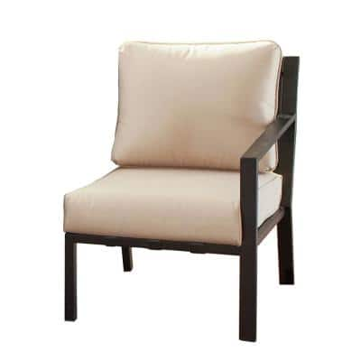 Metal Outdoor Left-Arm Lounge Chair with Beige Cushion