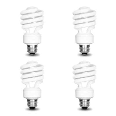 100-Watt Equivalent T3 Spiral Non-Dimmable E26 Base Compact Fluorescent CFL Light Bulb, Daylight 5000K (4-Pack)
