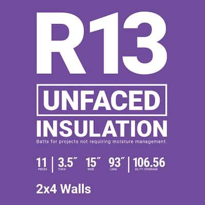 R-13 Unfaced Fiberglass Insulation Batt 15 in. x 93 in. (10-Bags)