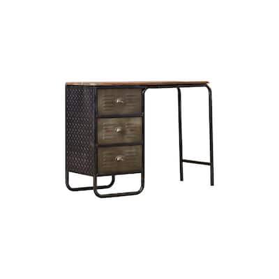 42 in. Rectangular Black/Grey 3-Drawer Metal Writing Desk