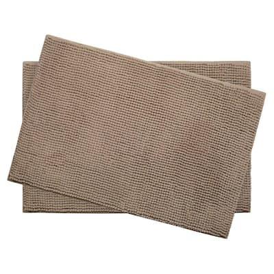 Plush Chenille Linen 17 in. x 24 in. Memory Foam 2-Piece Bath Mat Set