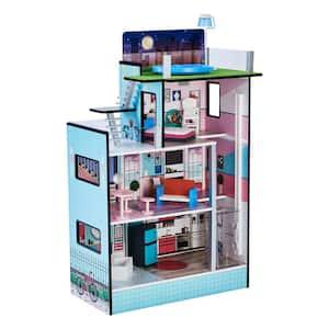 Dreamland Barcelona 3.5 in. Doll House in White/Pink, 24.5 in. L x 11.5 in. W x 37.5 in. H