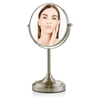 Small Round Tabletop Nickel Brushed Makeup Mirror (13.3 in. H x 5.3 in. W), 1x-7x Magnification