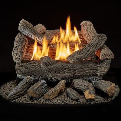 Bluegrass Living Vent Free Natural Gas Log Set - 18 Inch Traditional Oak, 30,000 BTU, Remote Control