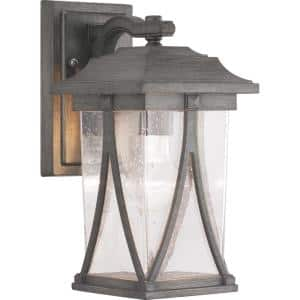 Abbott Collection 1-Light Antique Pewter Clear Seeded Glass Craftsman Outdoor Small Wall Lantern Light