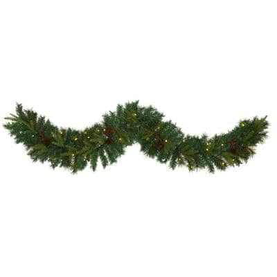 6 ft. Battery Operated Pre-lit Mixed Pine Artificial Christmas Garland with 35 Clear LED Lights, Berries and Pinecones