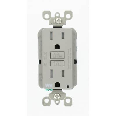 15 Amp 125-Volt Duplex Self-Test Tamper Resistant/Weather Resistant GFCI Outlet, Gray