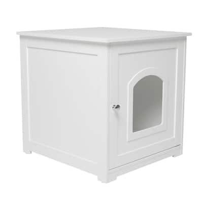 White Kitty Loo Litter Box Cover