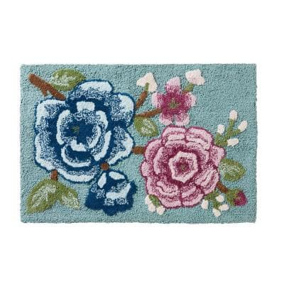 Spring Blooms 20 in. x 30 in. Multi Cotton Bath Rug
