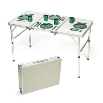 48 in. Silver Wood Adjustable Height Folding Table