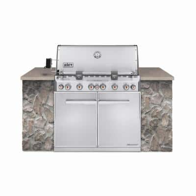 Summit S-660 6-Burner Built-In Natural Gas Grill in Stainless Steel with grill cover and Built-In Thermometer