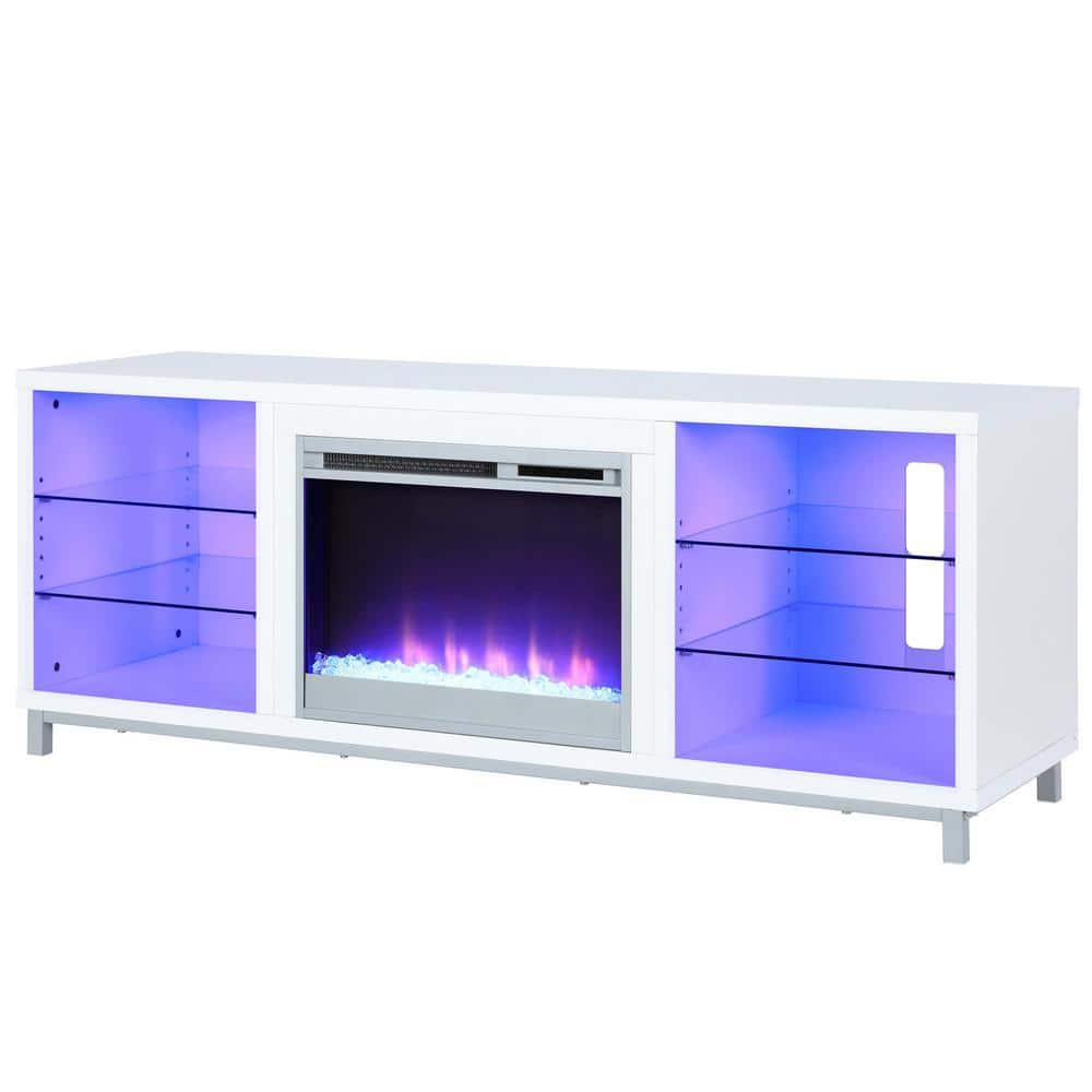 Ameriwood Home Cleavland 65 In White Particle Board Tv Stand Fits Tvs Up To 70 In With Electric Fireplace Hd65519 The Home Depot