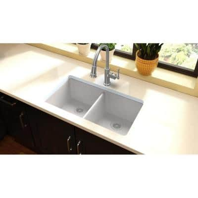 Quartz Classic White Quartz 33 in. Equal Double Bowl Undermount Kitchen Sink