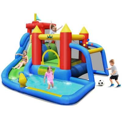 Inflatable Bouncer Water Slide Bounce House Splash Pool without Blower