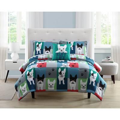 Kute Kids 2-Piece Puppy Patchwork Microfiber Twin Comforter Set