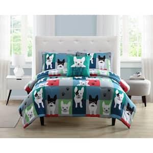 Kute Kids 3-Piece Puppy Patchwork Microfiber Full/Queen Comforter Set