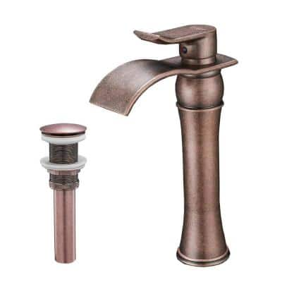 Single-Handle Single Hole Bathroom Faucet with Pop Up Drain and Water Supply Lines in Copper