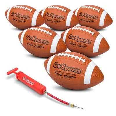 Max Grip Rubber Football with Ball Pump and Bag, Youth Size (6-Pack)