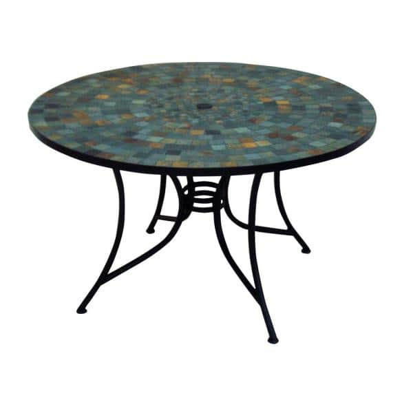 Round Slate Tile Top Patio Dining Table, Round Stone Patio Table