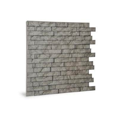 24 in. x 24 in. Ledge Stone PVC Seamless 3D Wall Panels in Portland Cement 12-Pieces
