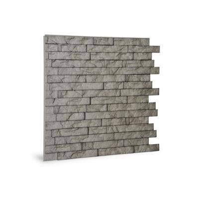 24'' x 24'' Ledge Stone PVC Seamless 3D Wall Panels in Portland Cement 1-Piece