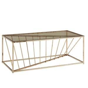 48 in. Clear/Champagne Gold Large Rectangle Glass Coffee Table
