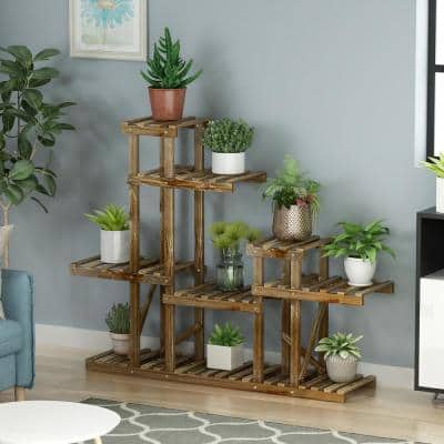 6-Layers 9-Pots Indoor Outdoor Bamboo Plant Stand Higher and Lower Plant Holder