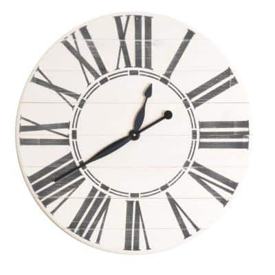 30 in. Oversized Antique White Farmhouse Wall Clock