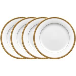 Charlotta Gold/White Porcelain Salad Plates (Set of 4) 8-1/4 in.