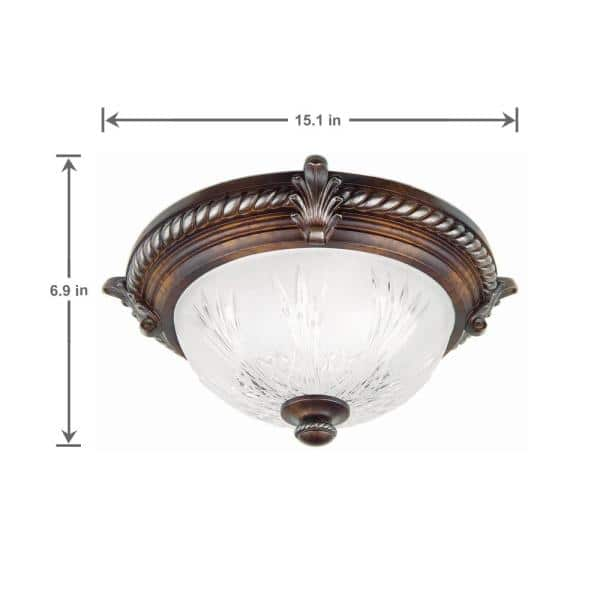 Hampton Bay Bercello Estates 15 In 2 Light Volterra Bronze Flush Mount With Etched Glass Shade 08058 The Home Depot