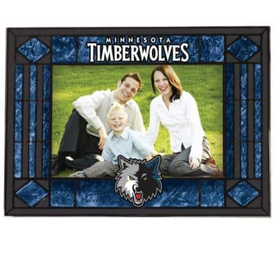 NBA -4 in. X 6 in. Gloss Multi Color Art Glass Picture Frame Timberwolves