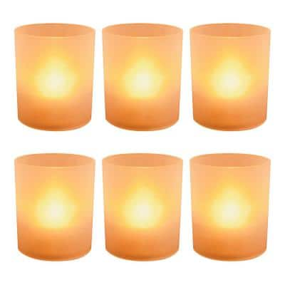 Orange Battery Operated LED Lights in Frosted Votive Holders (Set of 6)